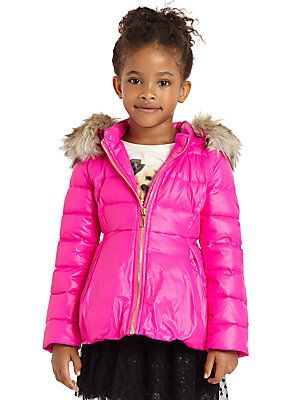 This Juicy Couture Puffer is also an Extreme Puffer, Extremely Girly that is!  Not only is it neon pink with the most amazing Bubble Peplum, but it also has Removable Faux Fur Trim around the Hood.  If this does not make your Girly Girl feel like a Snow Princess, I do not know what will.  I love this Puffer sooooo much, I wish it came in Adult sizes…. Yes I would pull off a Neon Pink Peplum Puffer if I could!  And it is on Sale too, 30% off at Saks Fifth Avenue.