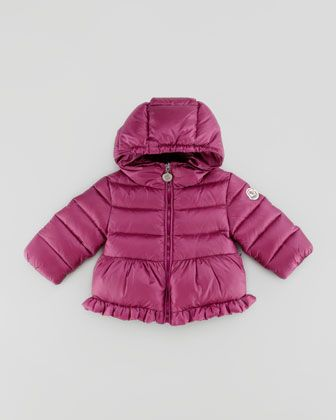 This  Moncler Odile Puffer  is for a True Princess. It has extra Cuteness with the Ruffle at the Hem in addition to the Peplum and it has extra Warmth with its signature down/feather fill.