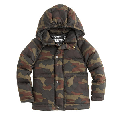 The Cold Weather will meet it's match with this Camo Down Jacket from J.Crew ($79.99).  Your Son will Love it because he will look Cool in the Awesome Camo Print, and you will Love it because it is 40% off the Sale Price (with Code FUNSALE)… that makes this Jacket 75% off its Original Price!
