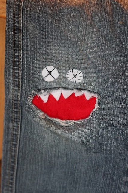 This Monster Patch is my absolute favorite, as it is just as cute for a girl as it is for a boy.  I love the classic Red Mouth as here, but also adorable is the Pink, Green, and Turquoise version above for Girls.  Parents.com has an easy tutorial for you to follow, and their Patch Mouth is Blue.  You can use your Child's favorite color to make their Monster Unique- this is sure to be your child's favorite pair of jeans!