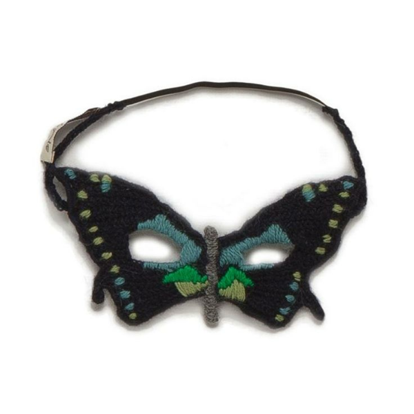 And last but certainly not least is this striking and intricate hand knit butterfly mask that would make any little girl feel like a woodland princess.  It is from Oeuf ($52.00) and on sale now, or if you are really crafty you could Knit your own for your Little Princess…..