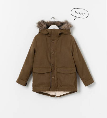 This  Zara  Parka with Hood will Keep your Little One Toasty in the Cold Months. It has a detachable fur lining which makes it perfect for the unpredictable weather ahead. Again, this is a Boys Parka, but as you all know I love the Unisex Trend, and the Classic Design of this Parka makes it just as Cute for a Girl as it is for a Boy.