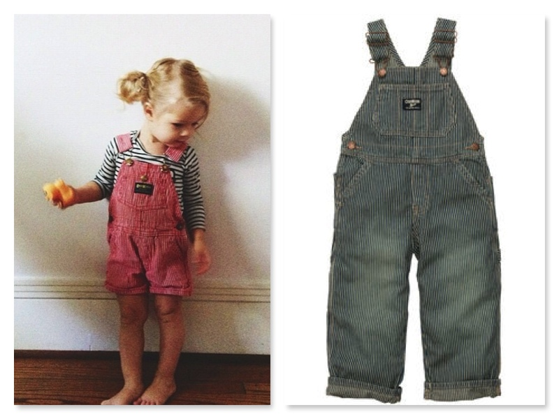 These are the Overalls I am off to buy my Son!  The genuine article… OshKosh B'Gosh Overalls with lots of pockets for storing his cars and favorite animals, and with authentic hardware and reinforced stitching… for only $17.00!  I also love the Red Ones for a Little Girl.  And the Stripe T-Shirt is absolutely adorable worn with the Classic Hickory Stripe!