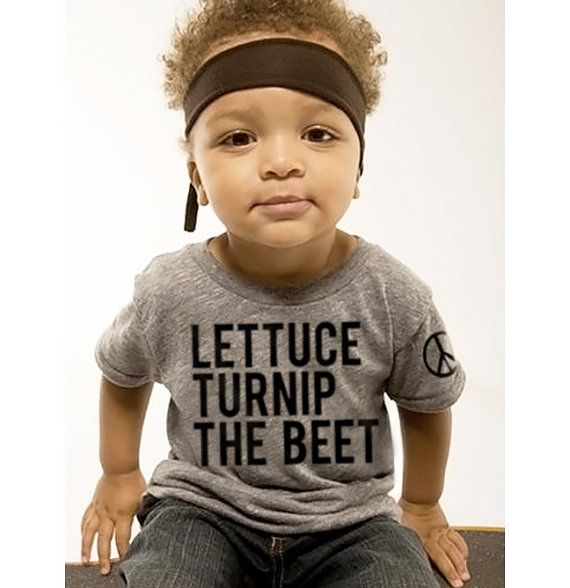 "This Hand Made, Custom Order ""Lettuce Turnip The Beet"" Statement Tee is from  Coup  at Etsy. And if you are a Pinner (Like Me), you may have seen this shirt in the 2012-13 ""popular"" section of Pinterest!  This is a Statement Tee that is sure to get Lots of Comments, Smiles, and Laughs from anyone who sees it!"