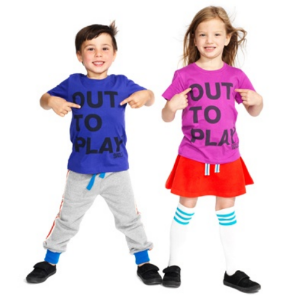 "Let this Brilliant ""Out to Play"" Tee do the talking, to let you know exactly what your Child wants to be doing. This Statement tee is from the hip UK brand  Boy&Girls , and comes in fun, vibrant, kid friendly colors--and it is 100% soft organic cotton. It is of course Unisex, and is just as Fun on a Boy or a Girl as can be seen above."