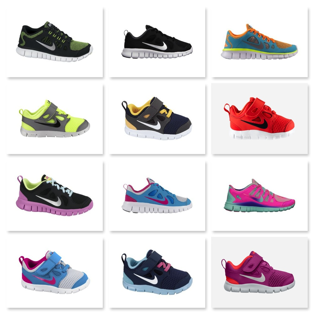 Here are a few color choices from the  Nike Store  of the Nike Free series for Kids, and if you do not find a color combo here for your Little One you can  Customize  your own Pair (picking out your own upper, overlay, swoosh, lace, lining, loop, and sole color)! How Cool is that?
