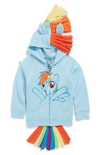 This Mighty Fine Rainbow Dash Hoodie ($40.00) lets your Little Darling be RainbowDash ALLOVER!  With mane, ears, tail, and wings your Daughter is sure to be in LOVE with the magic of this absolutely adorable Character Hoodie.  I love that there are Girly Character Hoodies in this trend as well-- Girls like to Dress-Up as much, if not more, than Boys.  And this RainbowDash Character Hoodie comes in Women's sizes ($60.00) as well, I am seriously considering :-)