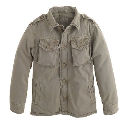 This Boys' Hartford Jarrow Army Jacket ($229.99) is available at J.Crew.  J.Crew is one of the only stores in the U.S. to sell the brand Hartford's kids' collection. Hartford was started in 1979 to recreate the vintage 1940s shirts that could only be found at Parisian flea markets.  Although this is a boys' jacket, with its refined fabrication and simplicity in design (in my opinion) it is a perfect unisex jacket :-)