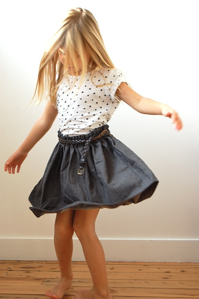 An Allover Star Printed T-Shirt looks Cute worn with a Chambray Skirt!