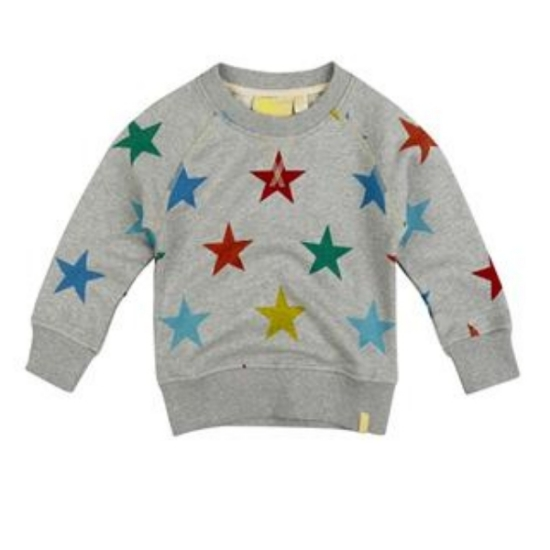 I just love this super cool  Multi Star Sweatshirt from the hip UK brand Boys&Girls. It is a classic Unisex Sweatshirt with a Multi Colored Allover Star Print that is Fabulous! This is the perfect play top, team it with sweat pants or jeans for cheering on Team U.S.A.!