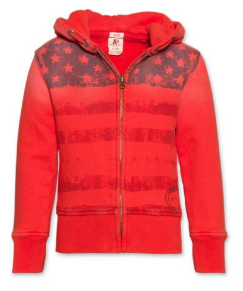 This  Full Zip Flag Hoodie  is from the Hip Belgian brand  Ao\ American Outfitters . The Allover Star Print is less of an Allover Print but more of an Oversized American Flag Graphic, but I Love it and I think this Hoodie is a fun way to show support for Team U.S.A.  Ao\ American Outfitters is a very cool Brand and you will fall in Love with them, they are in Belgium and shipping to the U.S. is almost as much as the Hoodie :-(… I am hoping an American store carries their clothes soon!