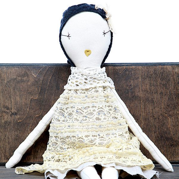 The Coco-Inspired Rag Doll is inspired by the Coco Doll in the book Kiki & Coco in Paris. Created using linen and vintage lace.