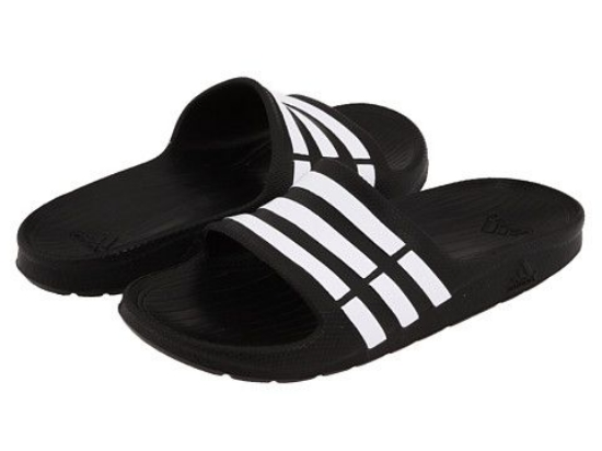 The  adidas Kids Duramo Slide  is the Classic Slide that is great for pre- and post-game, which is why soccer players have always Loved them. It is a slip-on style for easy on and off with a soft, molded EVA upper and sole unit for cushion and shock absorption.  his is the Shower Slide my husband wears, and the Slide my whole family will be wearing this Spring and Summer!