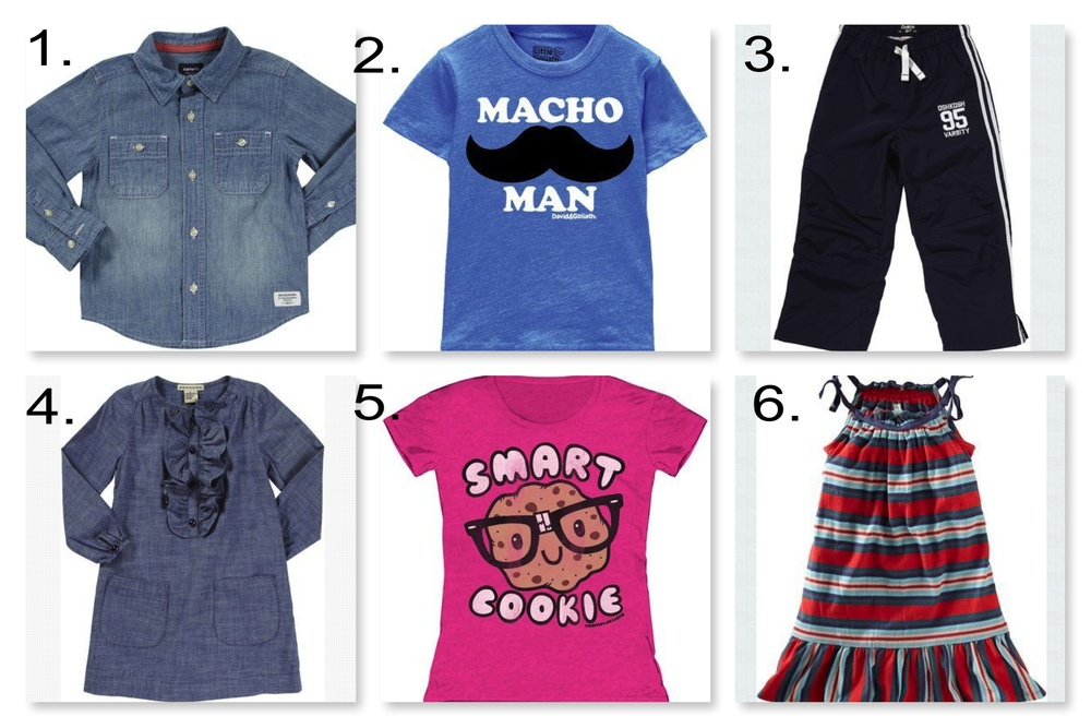 Diapers.com  has Presidents' Day Savings up to 70% off select clothing and shoes.  1.  Carter's Button Down Shirt  | 2.  David & Goliath Macho Man Tee  | 3.  OshKosh B'Gosh Athletic Pants  | 4.  Anthem of the Ants Ruffle Front Calliope Dress  | 5.  David & Goliath Smart Cookie Tee  | 6.  Tea Collection Strappy Mini Dress
