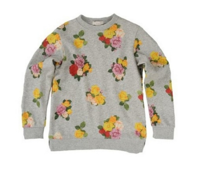 This  Stella McCartney Mimi Sweatshirt  is an organic cotton Sweatshirt in classic grey heather with an Allover Roses Print and an asymmetrical hem. Very Cool!