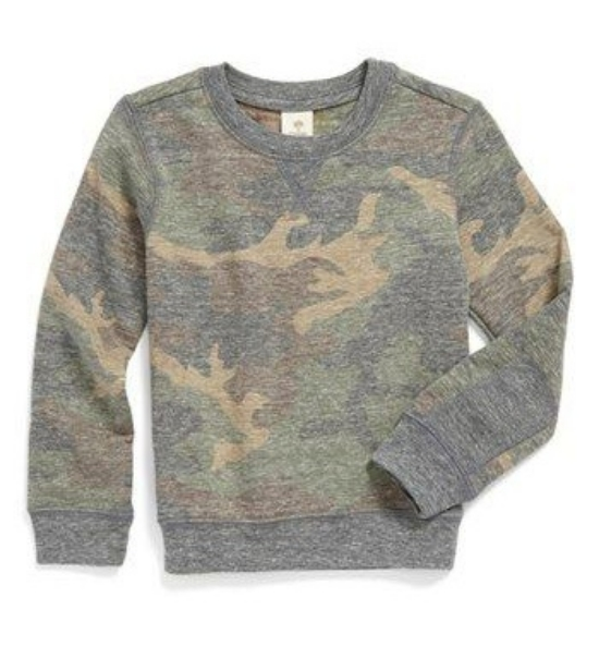 This  Tucker + Tate 'Berg' Camo Print Fleece Sweatshirt  is a subtle Allover Camo-Print Sweatshirt crafted from a supersoft blend for adventure-ready comfort for your Little One. I think this Sweatshirt would also be cute on a girl worn with a skirt!  Jcrew Factory  and  Peek Aren't you Curious  also have very cool Allover Camo-Print Sweatshirts for kids!