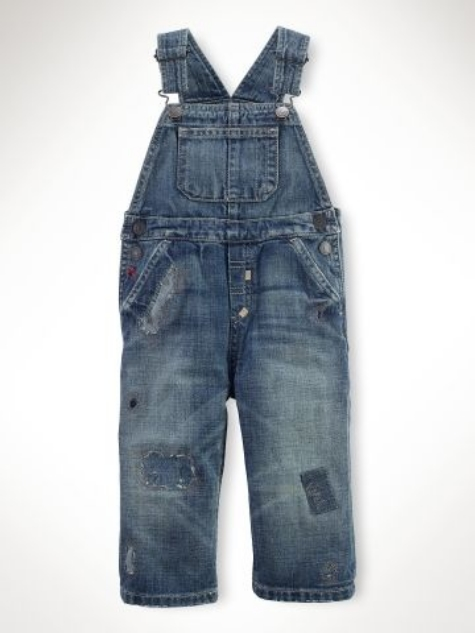 This Ralph Lauren pair features allover patchwork... Another Trend in Denim this Spring!  They are Washed Down and Patched to have an Authentic Worn In and Rugged Look.  This pair is for infants and they are on sale with an Extra 25% off the sale price.  My son is too big for these now, but if I could turn back time...
