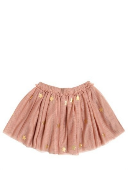 This  Stella McCartney Kids Printed Tulle Mini Skirt  is perfect for your future Little Ice Princess to do spins and twirls with its' elasticated adjustable waistband, all over glitter star print, and satin bow appliqué at the center back. This skirt is tutu cute!