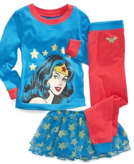 These Intimo DC Comics Wonder Woman 3-Piece Pajamas get the gold star for Super Cute! The long sleeve shirt has a Wonder Woman graphic at front, the pants have contrast trim and Wonder Woman insignia at the hip, and the tutu is tiered mesh ruffles with allover star print (what little girl wouldn't want to wear a tutu to bed?). I Love these Super Hero Pajamas!