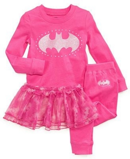 These DC Comics 3-Piece Superhero Pajamas come to the rescue with an adorable design to wear at bedtime. Your little Hero can choose from Batgirl or Supergirl designs! The long sleeve shirt has graphic with sugar glitter at front, the pants have a logo graphic at the hip, and the tutu has an allover print with tiers and ruffle at waist (again what little girl wouldn't want to wear a tutu to bed?).