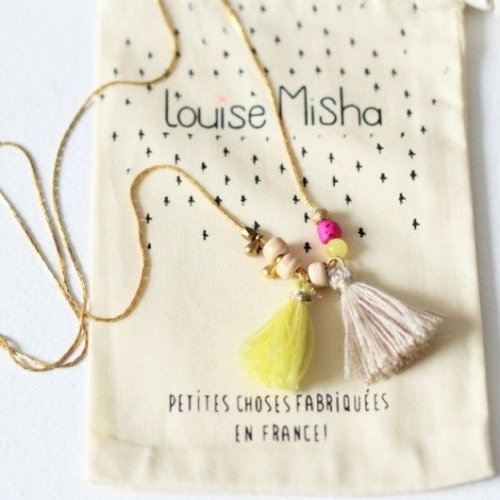 This  Louise Misha DESIGNER'S NECKLACE   is handmade in Paris. For Spring/ Summer the Tassel, which is normally used on handbags or purses, is being used on necklaces and accessories, and I Love this beautiful Tassel Statement Making Necklace.