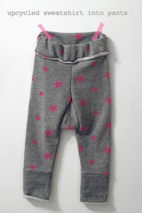 At petitapetitandfamily.com there is a very thorough tutorial for DIY- EASY UPCYCLED SWEATPANTS, there are step by step photos and instructions that guide you through recycling your old sweatshirts into Sweatpants for your little one.  I especially love these Allover Star Printed Sweatpants that she made!