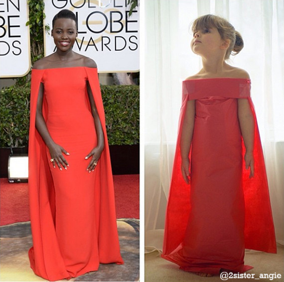 Mayhem's creation of Lupita Nyong'o in the Ralph Lauren Collection red cape gown she wore to the 2014 Golden Globe Awards.