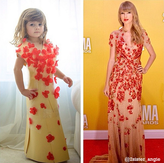 Mayhem's creation of Taylor Swift in the Jenny Packham beaded flower gown she wore to the 2012 CMA Awards.