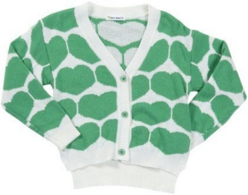 This  Dino Bebe Heart Cardigan  has a cute boxy, cropped silhouette and a high-low hem. It also has an allover heart pattern, which adds fun and will brighten up any outfit.