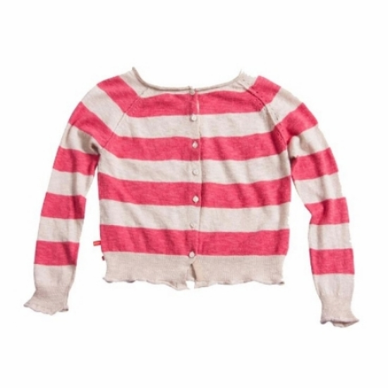 This  Bengh Per Principesse Striped Sweater  can be worn as either a sweater or as a cardigan. It has a button closure, raglan sleeves, and a glitter border at the neck.