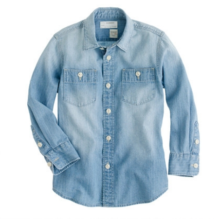 When in doubt, put him in this  J.Crew BOYS' VINTAGE CHAMBRAY WORKSHIRT  and put her in this similar  GIRLS' CHAMBRAY KEEPER SHIRT