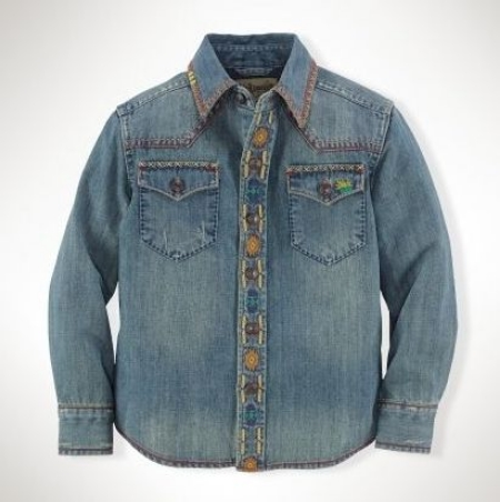 This  Ralph Lauren Western Denim Shirt for Boys  is a cool Western-inspired shirt with bold Southwestern-inspired embroidery throughout.