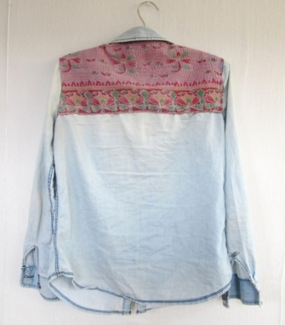 This  DIY Personalized Denim Shirt  on the Free People Blog is a DIY project to customize an old denim shirt by adding a pop of colorful pattern.