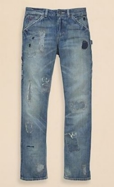 These  Ralph Lauren Boys' Slim Fit Jeans  are comfy cotton jeans with a distressed look of allover fading and intentional rips and repairs throughout.