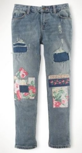These Ralph Lauren Girls Floral Patchwork Denim ($125.00) are an adorable pair of straight-fitting jeans with cool floral patches and allover distressed details.