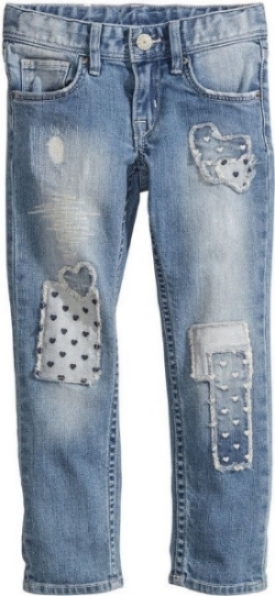 These  H&M Slim Jeans  have heavily distressed patch details at front and adjustable elasticized waistband for your little one.