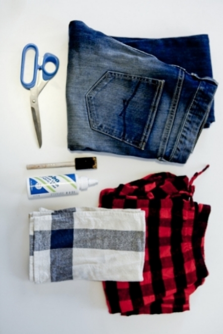 AT  thestyleline.com , Daily Candy's Style Buddha, Jenna Colombini, shares how fashion has shaped her life and shares tips on DIY including these  FLANNEL PATCHWORK JEANS - INSPIRED BY JUNYA WATANABE . She created these Patched Jeans using an old pair of pajama pants and a dish towel! I think I have to DIY my own pair with some leather fringe at the hem as well!