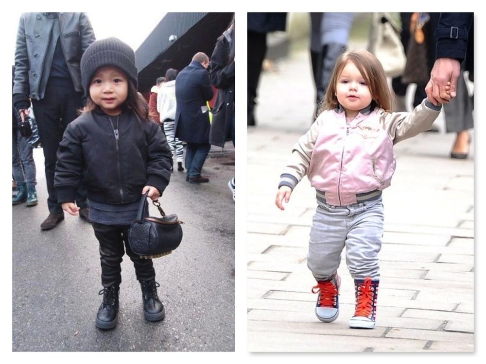 Mini Fashionista Aila Wang at NYFW wearing a Bomber Jacket and carrying a little Alexander Wang handbag and Couture Kid Harper Beckham wearing Stella McCartney Willow Bomber Jacket