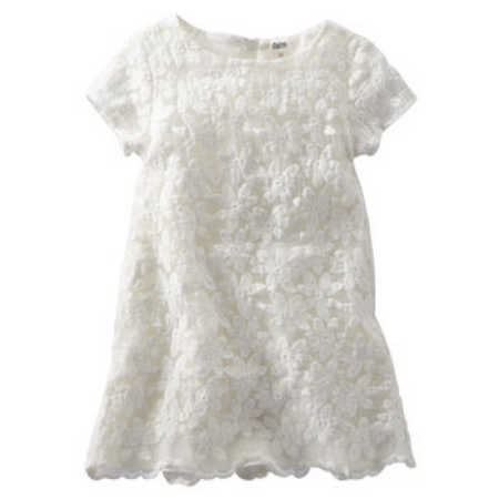This  OshKosh B'Gosh LACE SHIFT DRESS  has a Lace overlay with a modern floral, and is a great price for such an adorable All White Lace Dress.