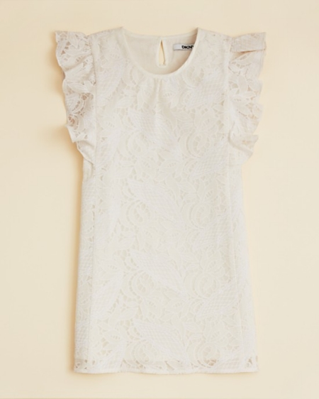 This  DKNY Girl's Lace Dress  is an elegant design for your little one, with a flutter sleeve design and a beautiful Lace overlay.