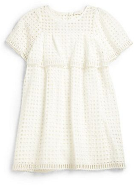 This  Chloé Girl's Eyelet Dress  is pricey, but your little one will be ready to  twirl in this charming short-sleeve dress with modern, graphic square Lace overlay... all she needs is her tiara and I love this  J.Crew  one!