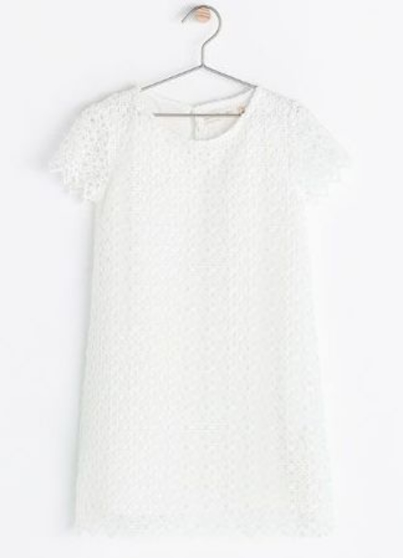 This Zara SHORT SLEEVE EMBROIDERED DRESS ($45.90) looks washed out in this photograph, but it is absolutely beautiful in person with a modern graphic Lace pattern.