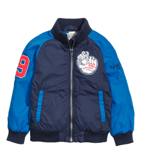 This H&M Baseball Jacket ($29.95) is a lined nylon jacket with printed design and appliqués, and it also has ribbed neckline, cuffs and hem.   It is a cool Baseball Jacket for a great price... I love it!