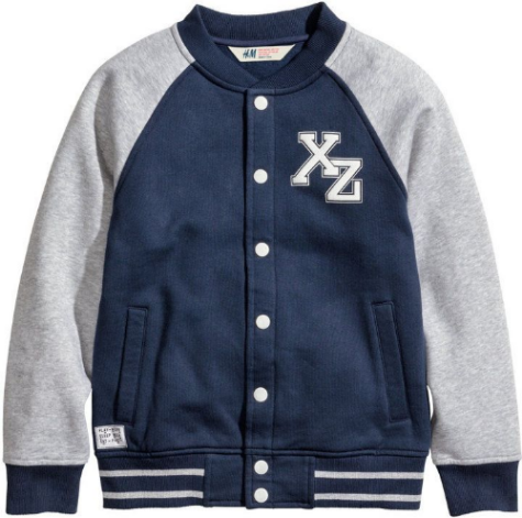 This  H&M Baseball Jacket  in sweatshirt fabric with contrasting raglan sleeves has embroidered patch at left chest, embroidered appliqué patch under right side pocket, and ribbed cuffs and hem.