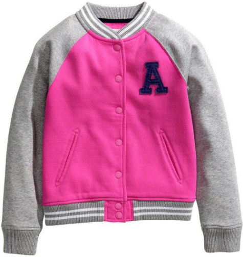 This H&M Baseball Jacket ($24.95) is in sweatshirt fabric with contrasting sleeves, printed design at back, and appliqué patch at left chest.  It also has snap fasteners at front, ribbed cuffs and hem, and is available in 2 different colors; cerise (above) and light gray.