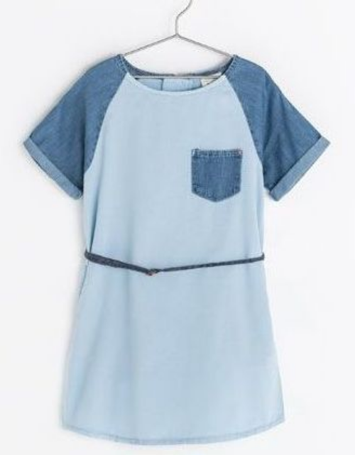 This  Zara DENIM DRESS WITH CONTRASTING SLEEVES  reminds me of the Rebecca Taylor Short Sleeved Railroad dress I am obsessing over with it's contrast sleeves and chest pocket, side pocket detail, and zip closure in back.