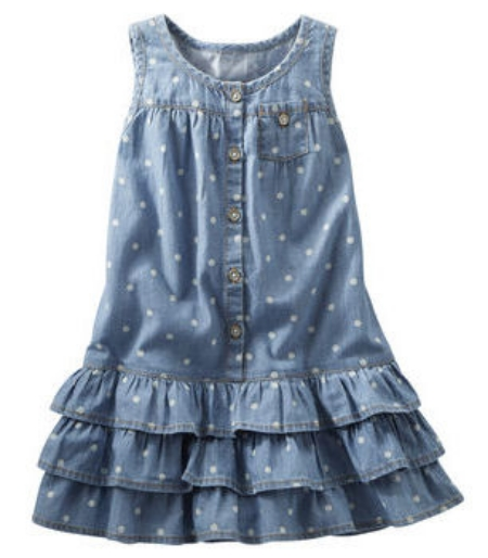 This  OshKosh B'gosh CHAMBRAY TIERED DRESS  is a classic Chambray Dress with an easy spring to summer look, with girly girl Bold Ruffles and polka dots.