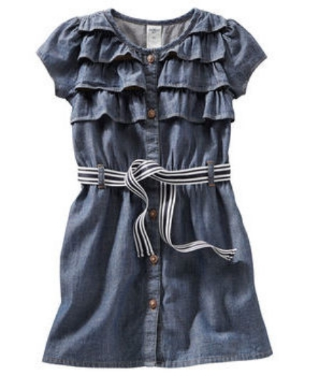 This  OshKosh B'gosh CHAMBRAY DRESS  is classic in Chambray with button-front silhouette, but gets a girly touch with ribbon belt and Bold Ruffles. This dress is perfect for any special occasion.