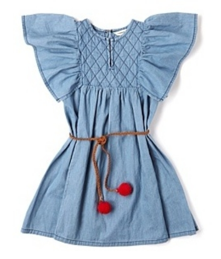 This Country Road - Kidswear Girls - Quilted Pinafore ($100.00) has a quilted yoke around the neckline and Ruffle Sleeves that flutter beautifully.  It also has a tie around the waist with pom-poms on the ends in a fun, pop red colour.