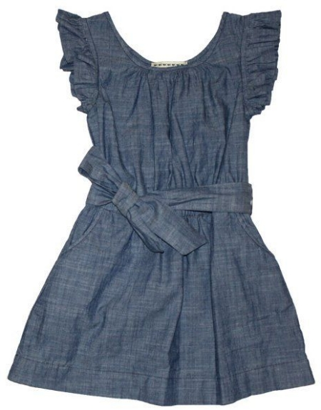 This  Anthem of the Ants Ciao Summer Sundress  has Ruffle Sleeves, Front Pockets, and Waist Sash. This is an adorable Ruffled Chambray Dress.